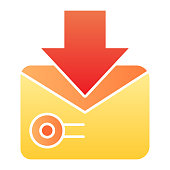 Letter with a postage stamp flat icon. Envelope with stamp vector illustration isolated on white. Send mail gradient style design, designed for web and app. Eps 10