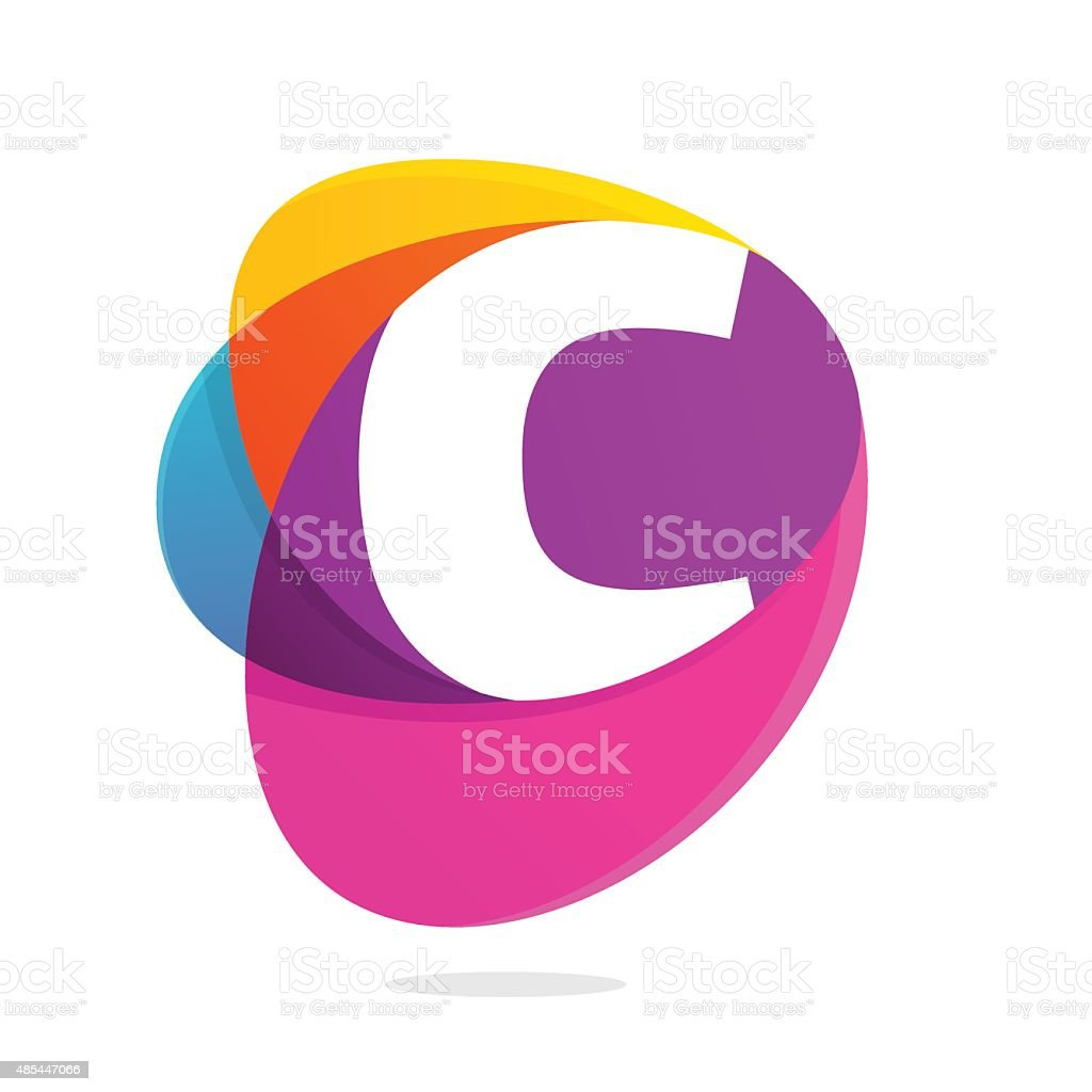 C letter with ellipses intersection icon. vector art illustration