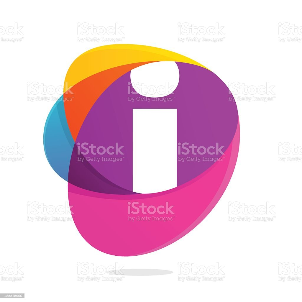 I letter with ellipses intersection icon. vector art illustration