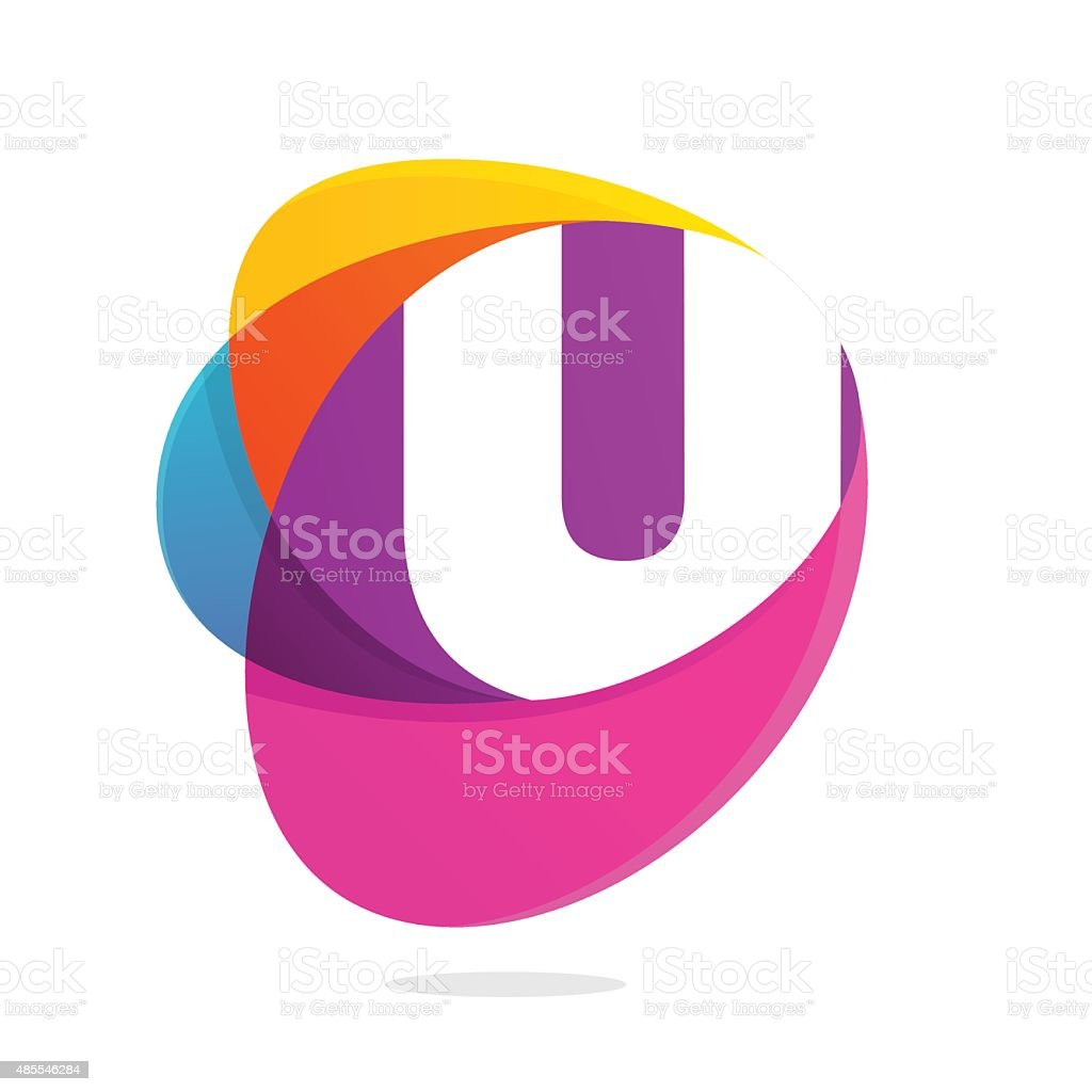 U letter with ellipses intersection icon. vector art illustration