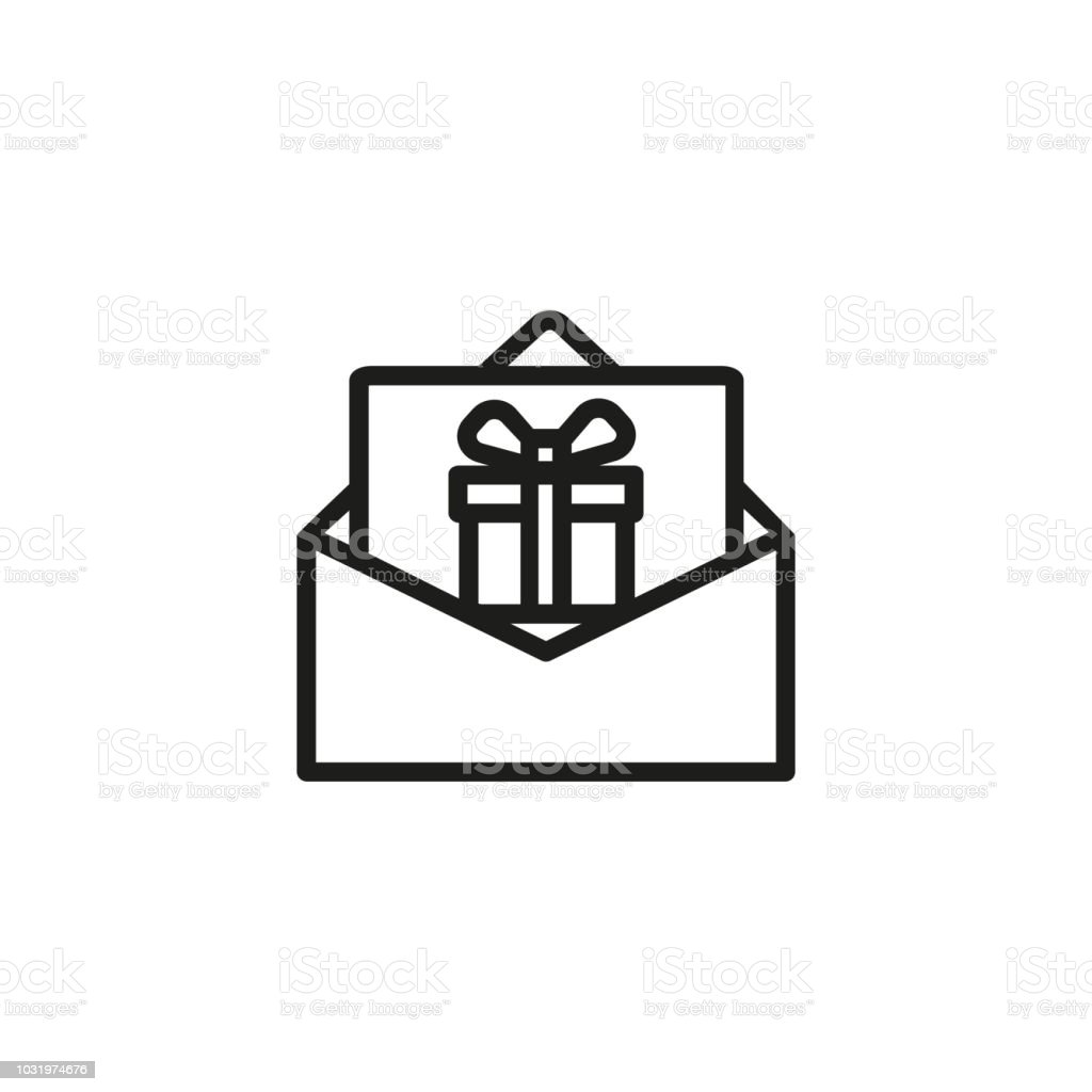 Letter With Gift Box Line Icon Stock Vector Art More Images Of