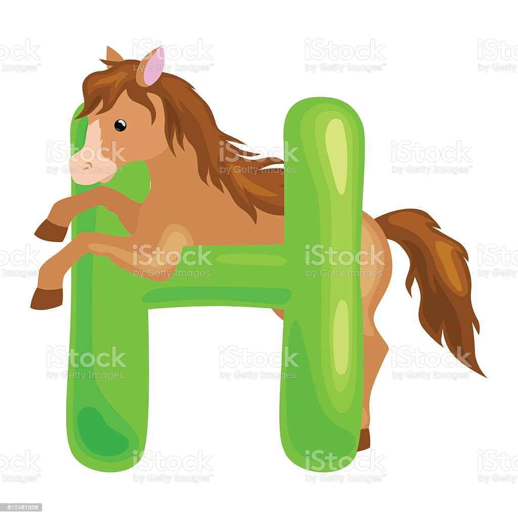 horse animal and letter for kids abc education in preschool.Cute...