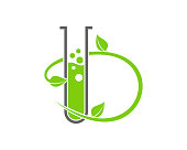 B Letter with nature laboratory test tube