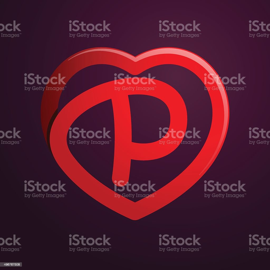 P Letter With Red Heart Royalty Free Stock Vector