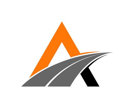 A Letter with road way asphalt logo