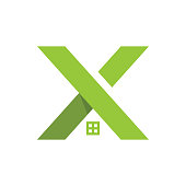 letter x and house logo concept. logo template.