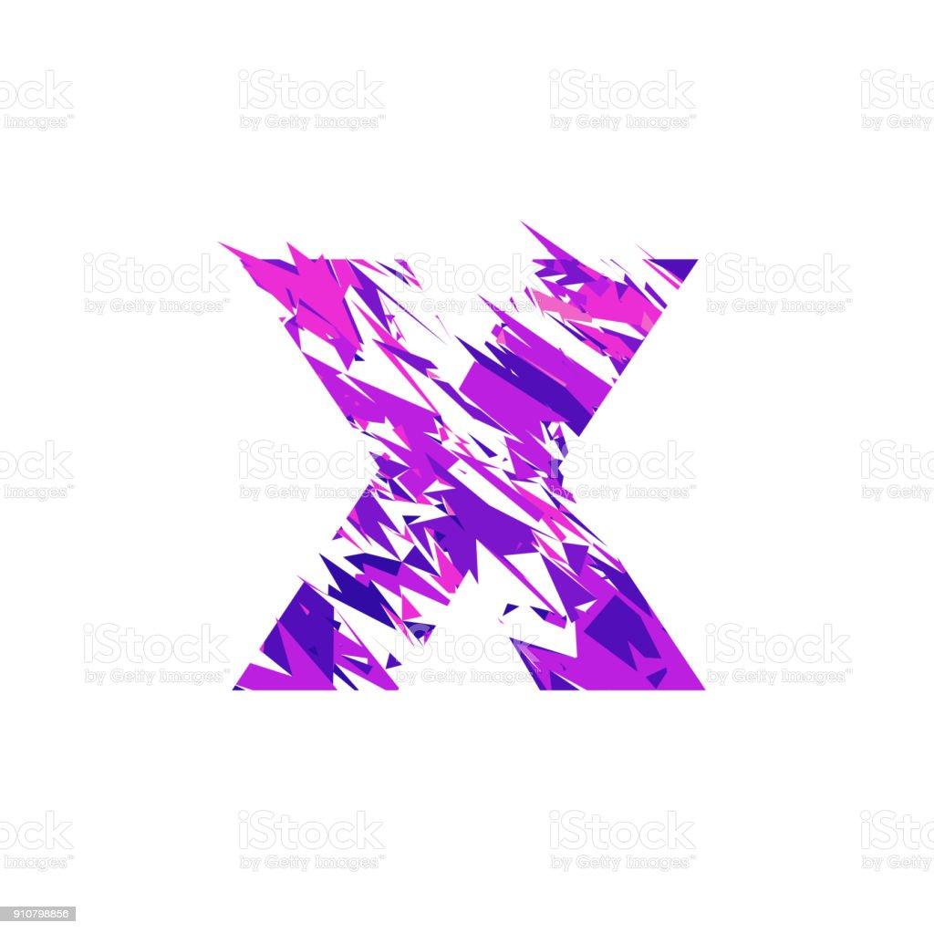 Letter X, broken into a splinters. vector art illustration