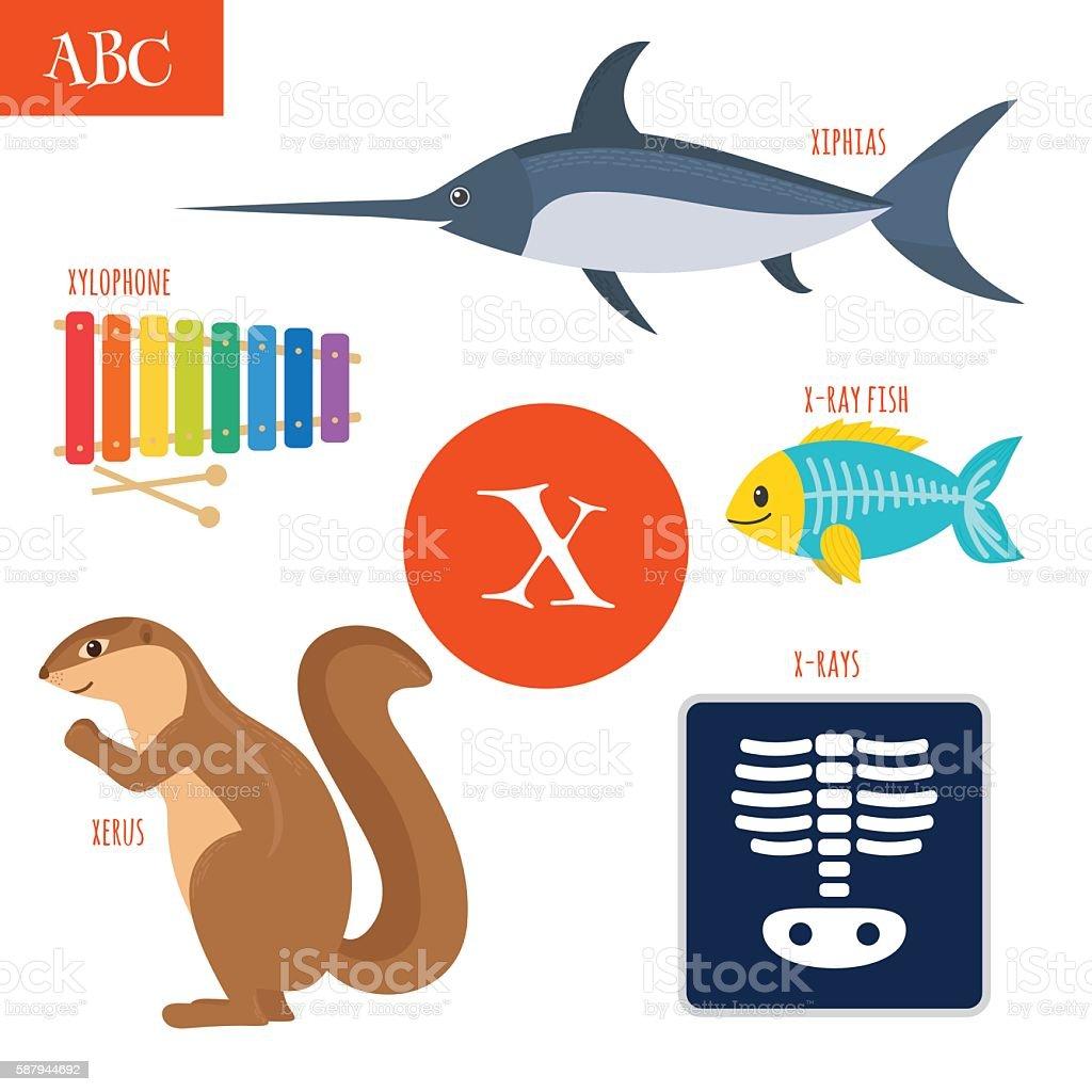 Letter X. Cartoon alphabet for children vector art illustration
