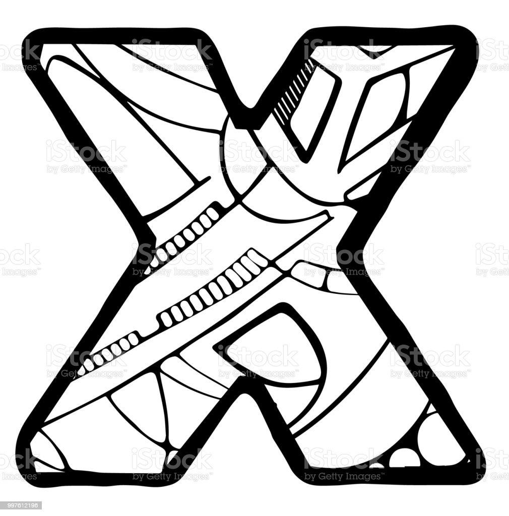Ilustración De Página Para Colorear De Letra X Y Más