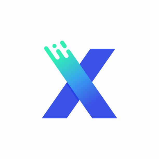 Letter X Design Vector In Blue Green Gradient vector art illustration