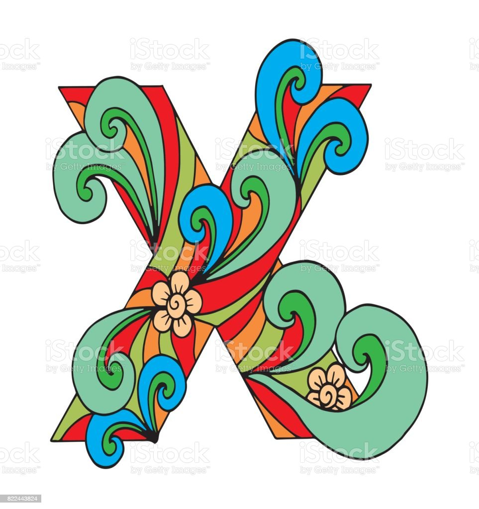 Letter X For Coloring Vector Decorative Object Illustration Computer ...