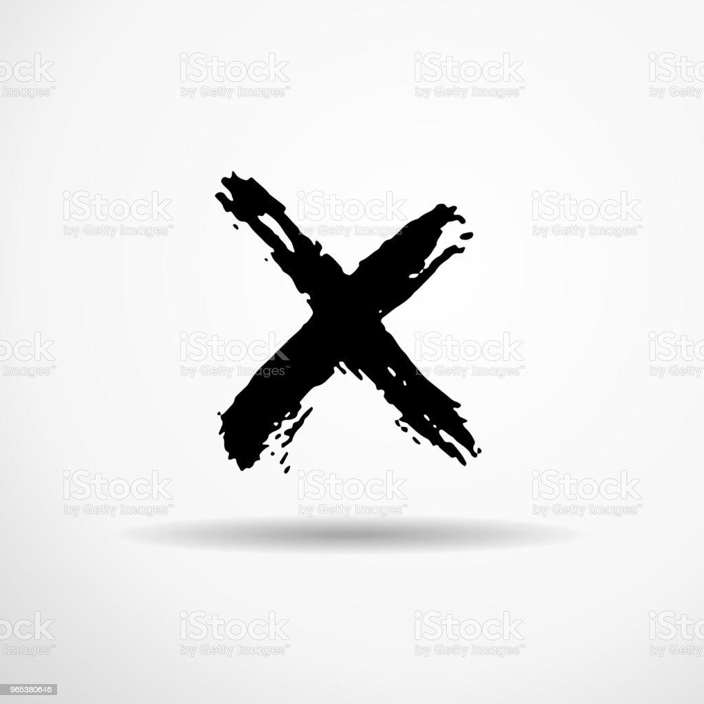 편지 엑스 드라이 브러쉬에 의해 손으로입니다. 거친 스트로크 글꼴 질감. 벡터 일러스트입니다. 그런 지 스타일 알파벳입니다. - 로열티 프리 거친 벡터 아트