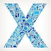 Letter X Home Renovation Repair Vector Icon Pattern