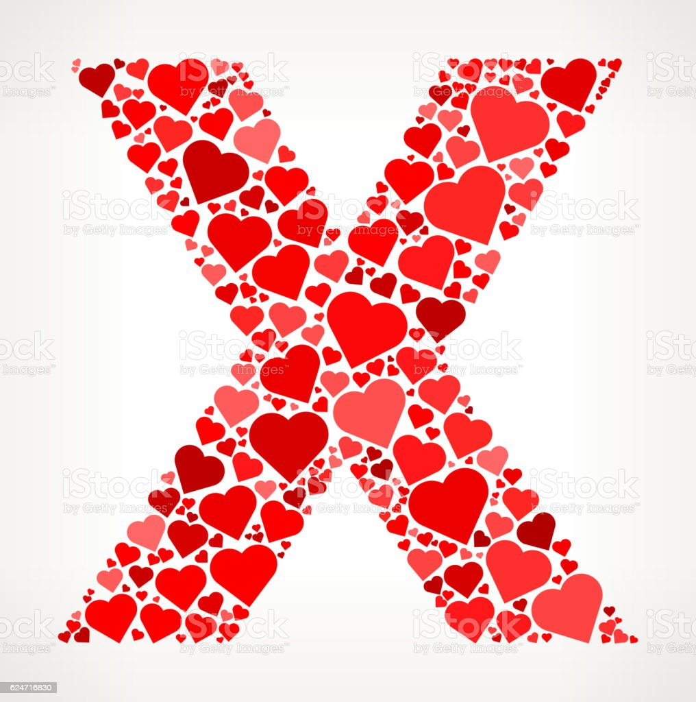 Letter X Icon With Red Hearts Love Pattern Stock Vector Art & More ...