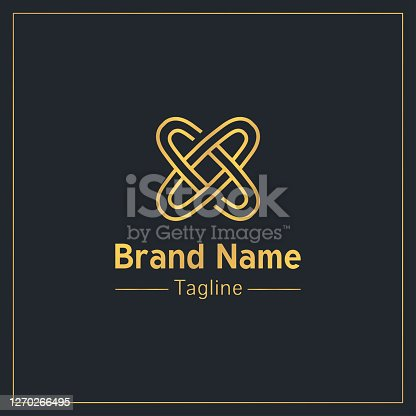 istock Letter x in the form of two connected rings golden symbol design template 1270266495