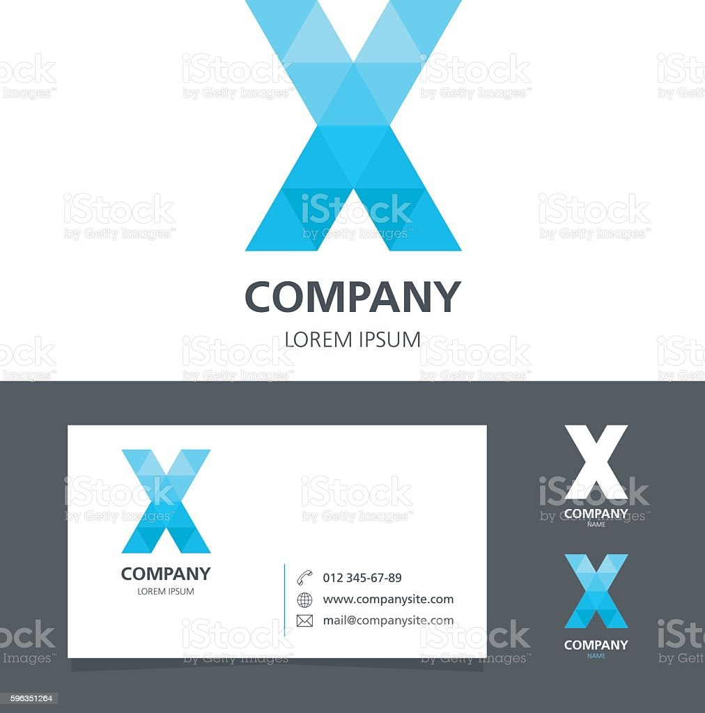 Letter X - Logo Design Element with Business Card - illustration royalty-free letter x logo design element with business card illustration stock vector art & more images of abstract