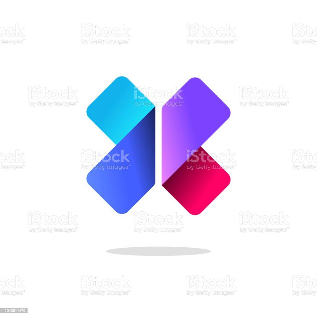 Buchstaben x Logo Vektor, gradient bunte abstrakte Logo mit Schatten, eleganten geometrischen rot, blau, violett Farbe isoliert Symbol clipart – Vektorgrafik