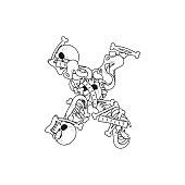Letter X skeleton Bones Font. Anatomy of an alphabet symbol. dead ABC sign