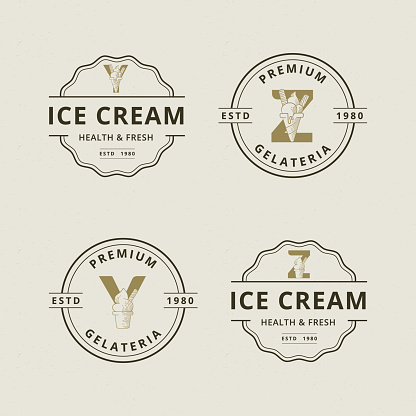 Letter Y and Z with abstract ice cream logo template