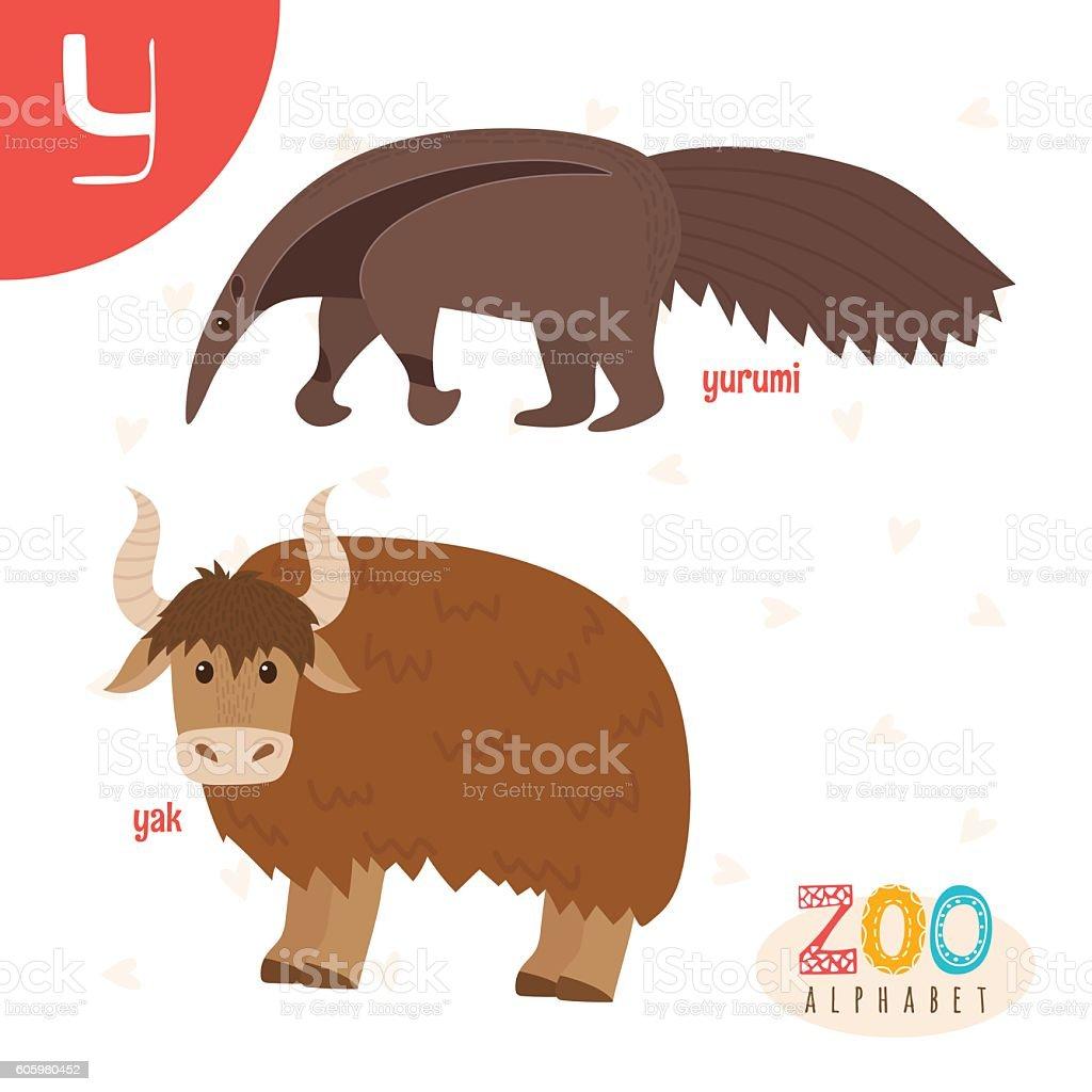 Letter Y Cute Animals Funny Cartoon Animals In Vector Stock Vector