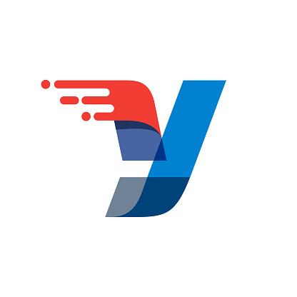Letter Y fast speed motion logo.