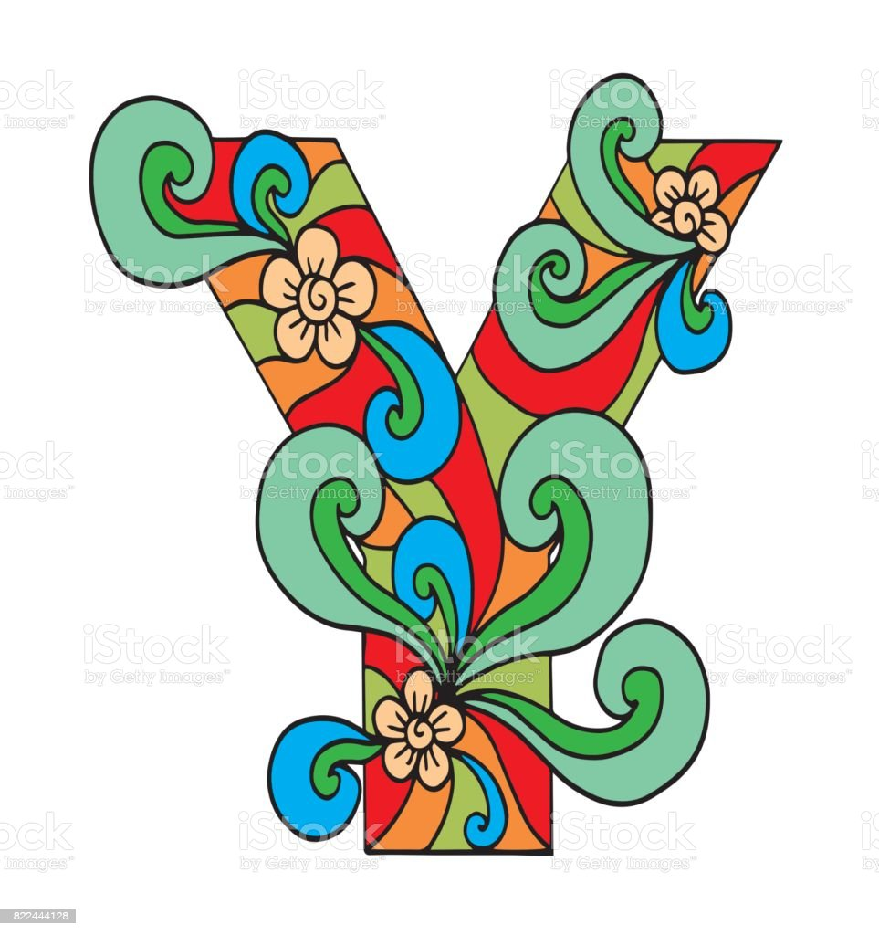 Letter Y For Coloring Vector Decorative Object Illustration Computer ...