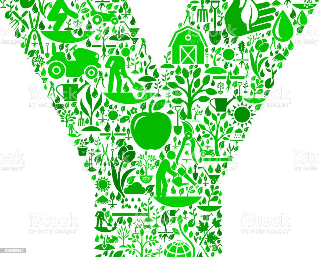 Lettre Y jardin et jardinage Vector Icon Pattern - Illustration vectorielle