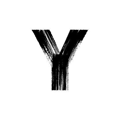 Letter Y hand drawn with dry brush