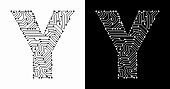 Letter Y in Black And White Circuit Board Font