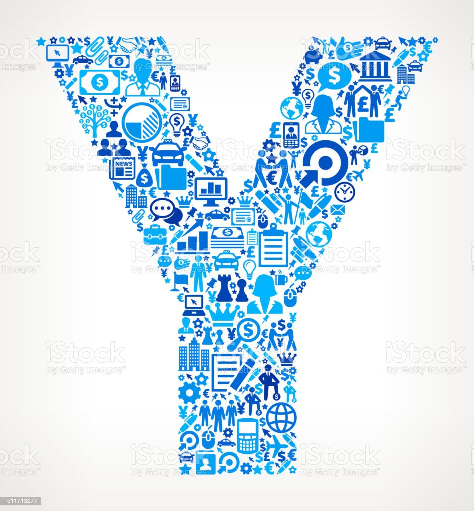 Letter Y on Business Icon Pattern