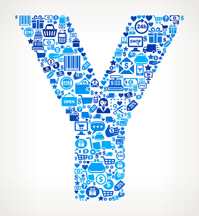 Letter y Shopping and Commerce Blue Icon Pattern