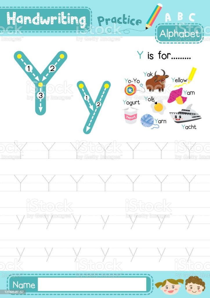 Letter Y Uppercase And Lowercase Tracing Practice Worksheet A4 Stock  Illustration - Download Image Now - IStock
