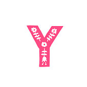 Letter Y. Vector. Pink letter with ornament. Applique for clothes. Logo for the company.