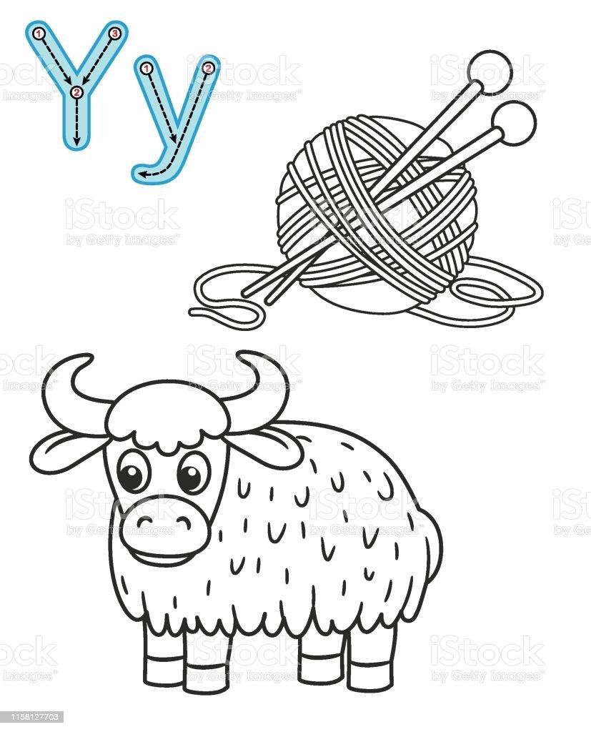 Letter Y Yak Yarn Vector Coloring Book Alphabet Printable ...