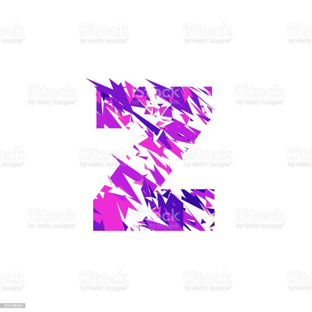 Letter Z, broken into a splinters. vector art illustration