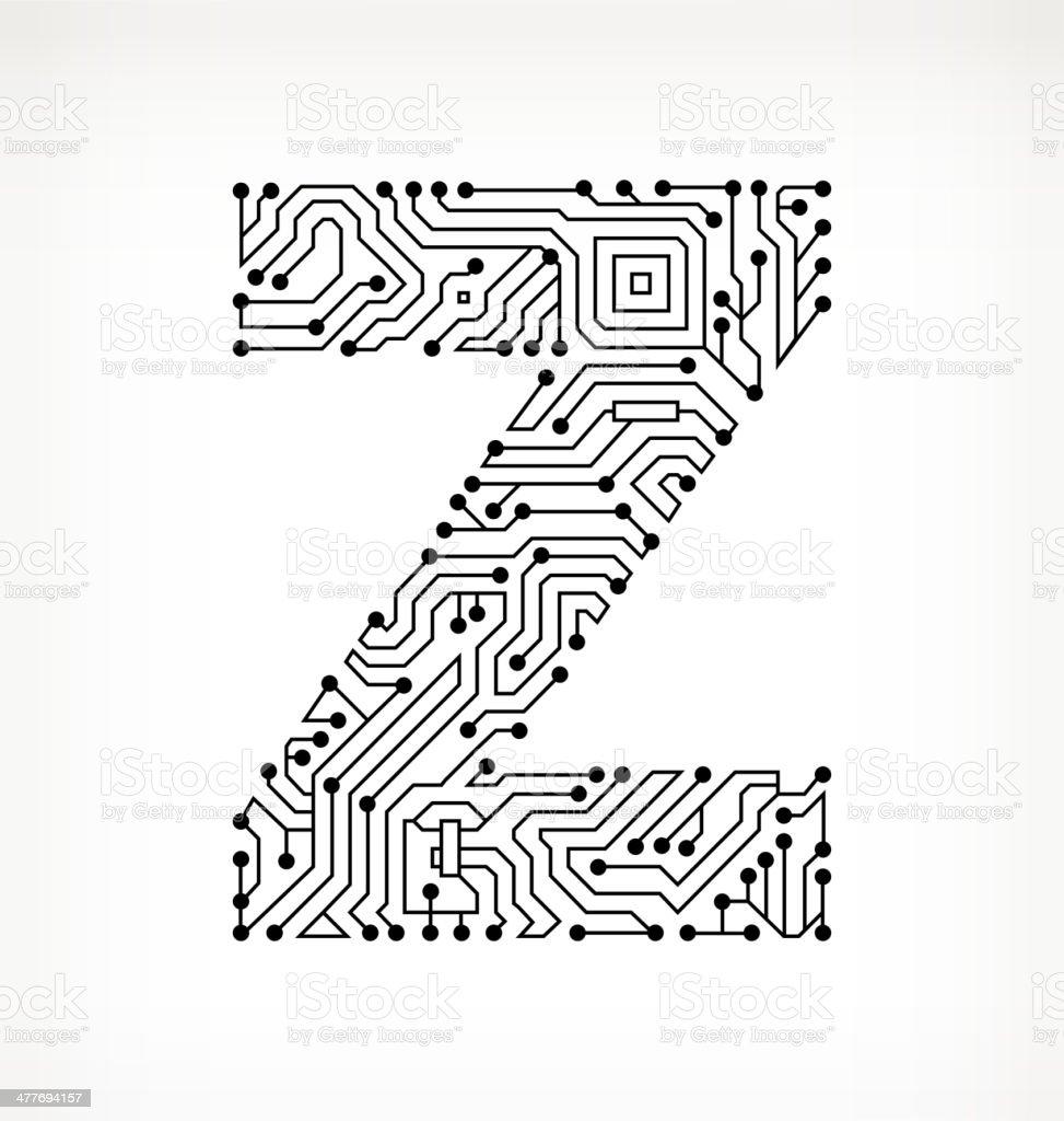Circuito Z : Ilustração de letra z placa de circuito em fundo branco e mais banco