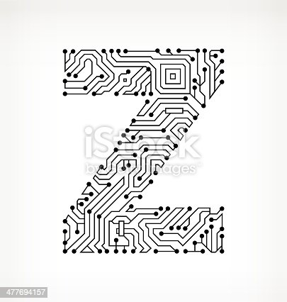 Letter Z Circuit Board On White Background Stock Vector Art & More ...
