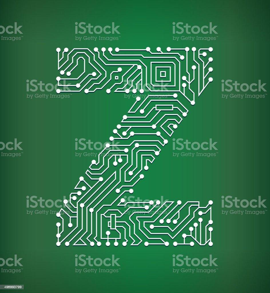Circuito Z : Ilustración de letra z placa de circuito de arte vectorial sin