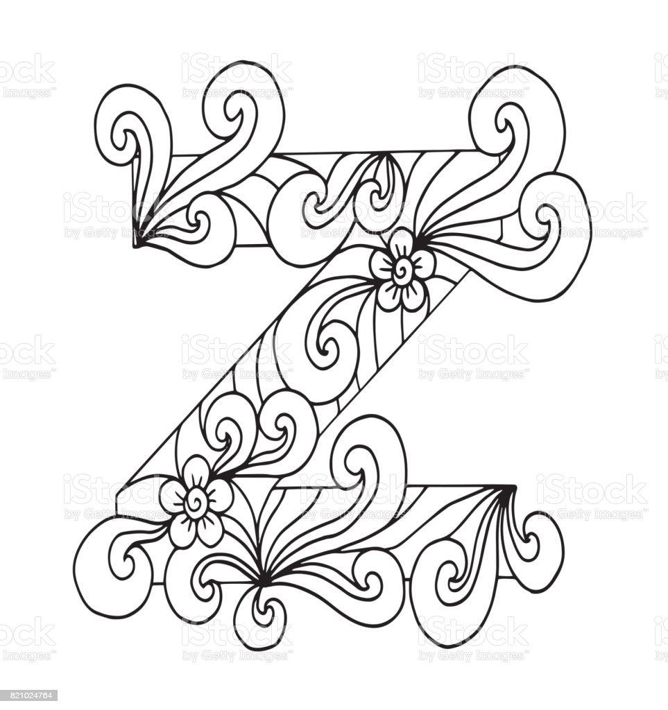 Harf Z Boyama Vektor Dekoratif Nesne Illustrasyon Bilgisayar