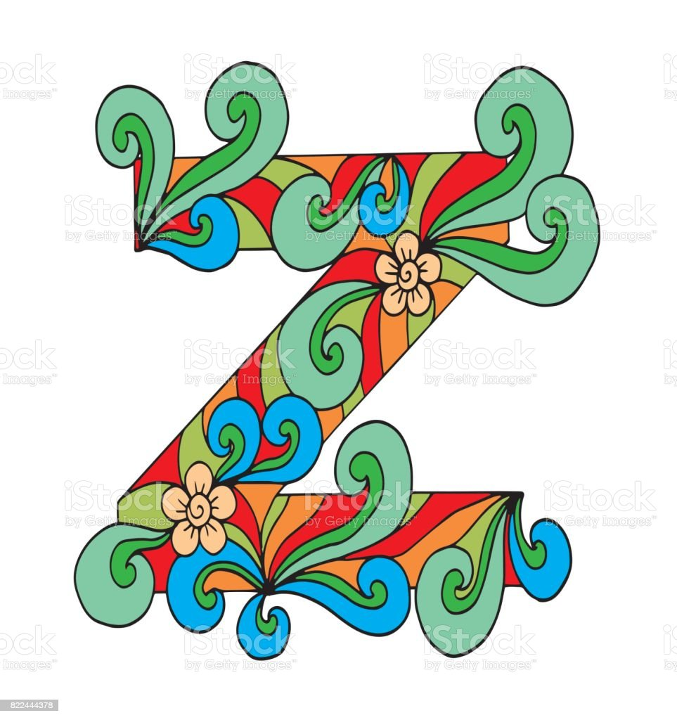 Letter Z For Coloring Vector Decorative Object Illustration Computer ...