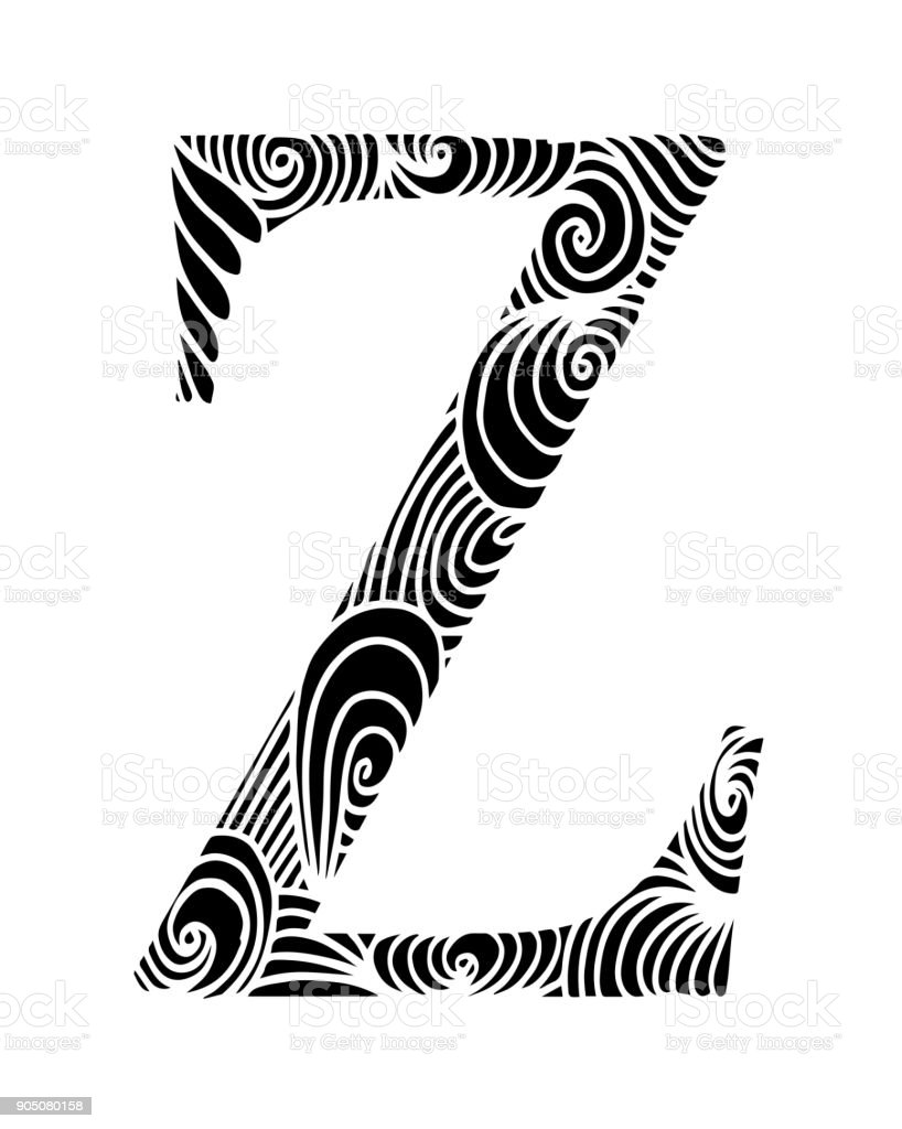 Ilustración De Letra Z Para Colorear Objeto Decorativo De