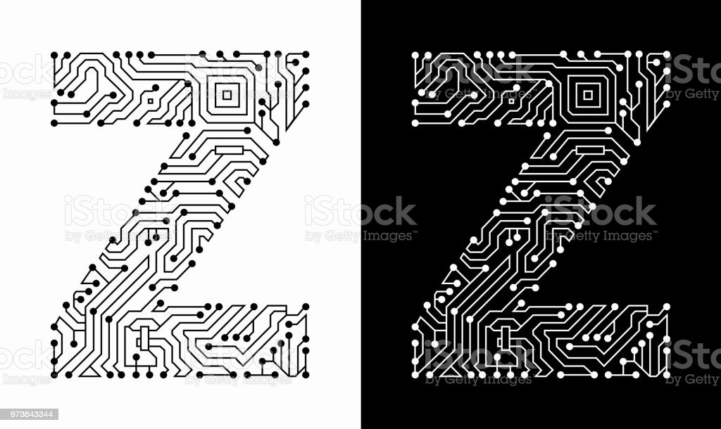 Letter Z In Black And White Circuit Board Font Stock Vector Art