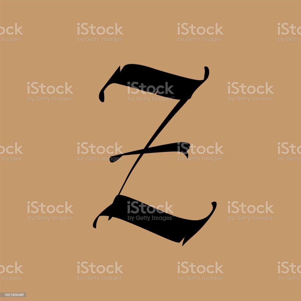 Ilustración De Letra Z De Estilo Gótico Vector Alfabeto El Símbolo