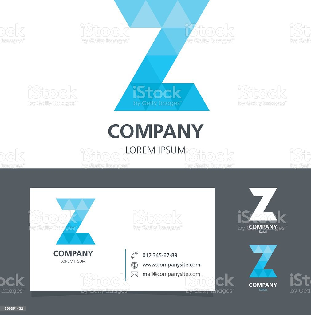 Letter Z - Logo Design Element with Business Card - illustration royalty-free letter z logo design element with business card illustration stock vector art & more images of abstract