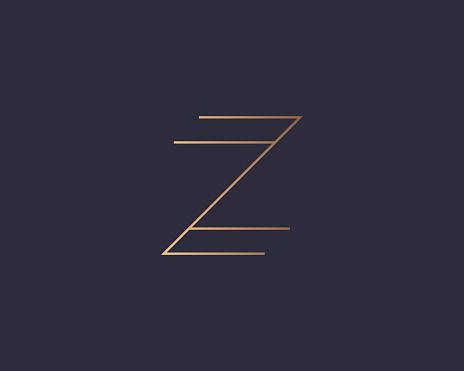 Letter Z logo monogram, minimal style identity initial logo mark. Golden gradient parallel lines vector emblem logotype for business cards initials invitations ect.