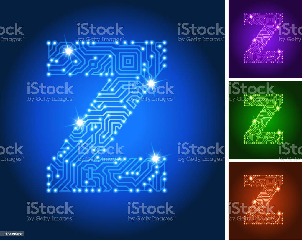 Circuito Z : Ilustración de letra z en circuito de color azul y más banco de