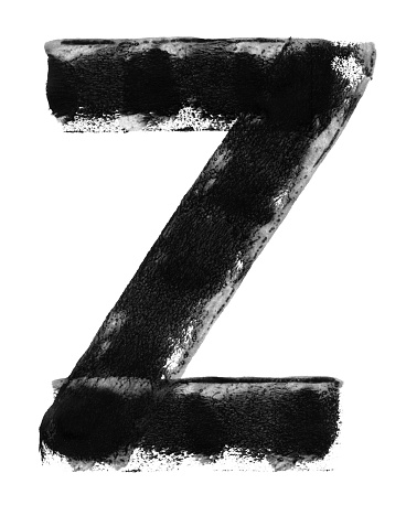 Letter Z painted carelessly by paint roller and thick black acrylic paint -  vector illustration with amazing details consisting of three straight lines - uneven and irregular imprints with unique natural dirties and paint dilution