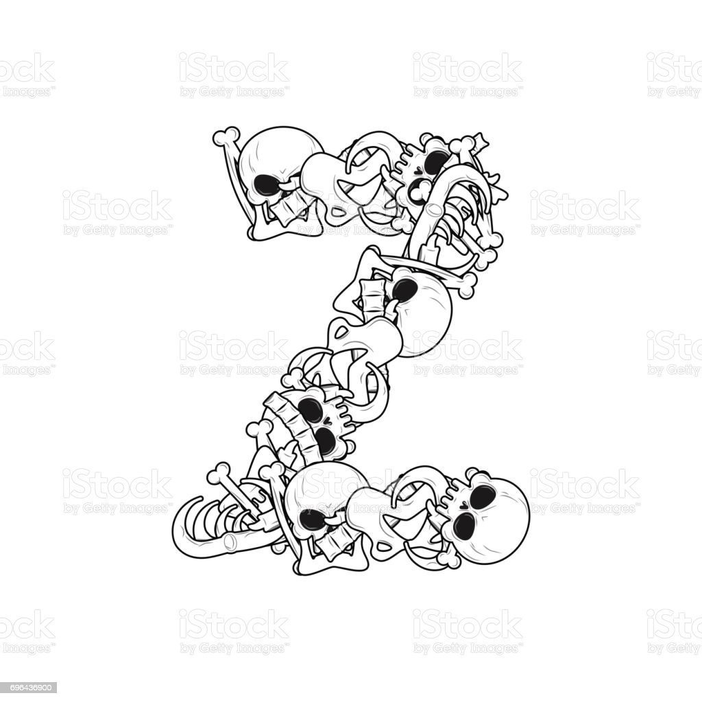 Letter Z Skeleton Bones Font Anatomy Of An Alphabet Symbol Dead Abc ...