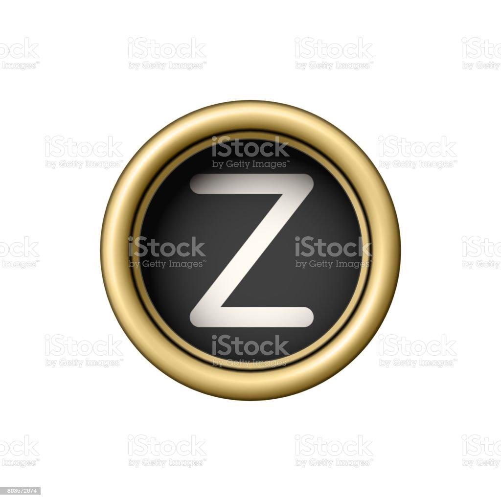 Letter Z. Vintage golden typewriter button vector art illustration