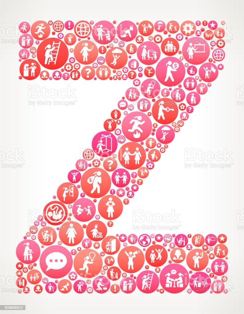 Letter Z Women Girl Power Vector Icons Pattern Stock Vector Art ...